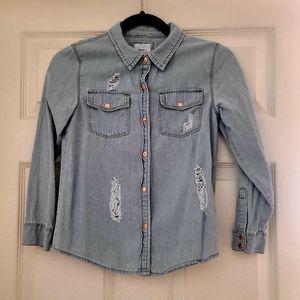 Forever 21 Distressed Denim Shirt